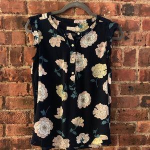 LOFT floral sleeveless blouse